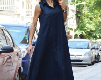 Dark Blue Linen Maxi Dress, Plus Size Kaftan, Extravagant Long Dress, Asymmetric Summer Top by SSDfashion