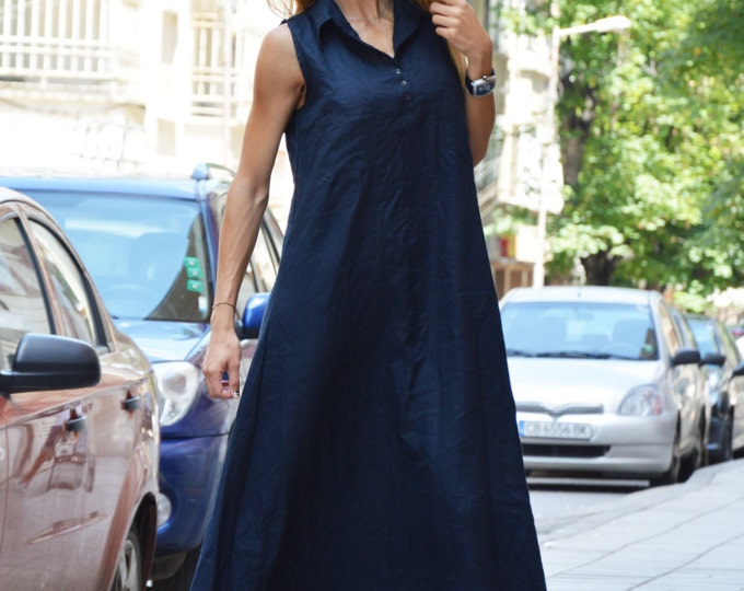 Dark Blue Linen Maxi Dress, Plus Size Kaftan, Extravagant Long Dress, Asymmetric Summer Top by SSDfashion