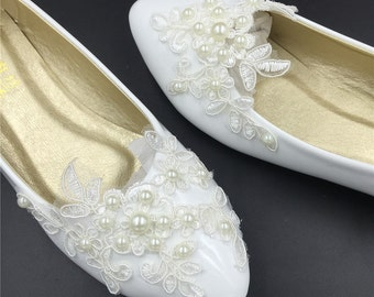 Full Sizes Ivory White Vintage Lace Wedding Shoes,Pearls Bridal Ballet Shoes,Lace Flats Shoes,Women Wedding Shoes,Comfortable Bridal flats