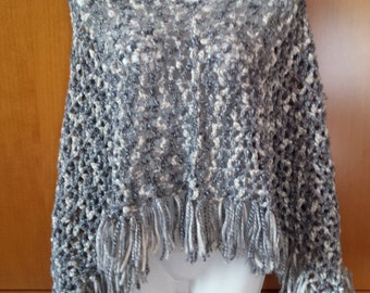 Heather gray wool poncho with fringe