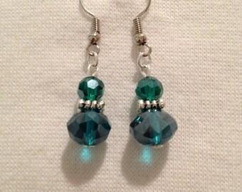 Turquoise Czech crystal earrings