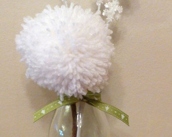 Snow Pom Flower with Snowflakes in a Bottle