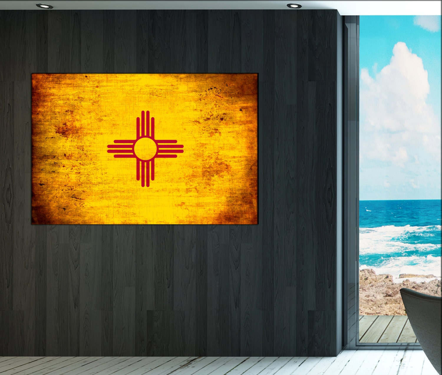 new mexico state flag canvas art print large wall art canvas print flag of the state: new mexico home decor