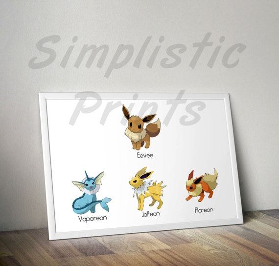 Eevee Evolution Chart Pokemon Go Wall Art 13x19 11x17