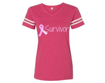 Survivor Vintage Pink Breast Cancer Awareness Tee