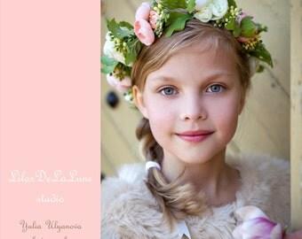 Baby child toddler flower crown headband,Girl flower crown,  baby headband, flower headband, Pink flower crown, flower girl dress