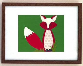 Kid's Room Wall Art, Woodland Creature Fox Art - Handmade Original