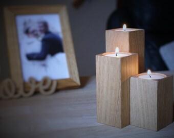 Wooden Candle holders - Set of 3 oak wood candle holders - oak tealight holders