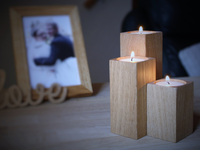 Wooden Candle Holders Set Of 3 Oak Wood Candle Holders Oak