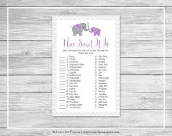 Elephant Baby Shower How Sweet It Is Game - Printable Baby Shower How Sweet It Is Game - Purple and Gray Elephant Baby Shower - SP116