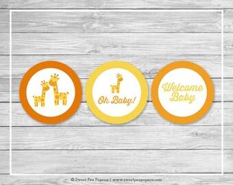 Giraffe Baby Shower Cupcake Toppers - Printable Baby Shower Cupcake Toppers - Yellow Giraffe Baby Shower - Giraffe Cupcake Toppers - SP131