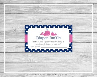 Whale Baby Shower Diaper Raffle Insert - Printable Baby Shower Diaper Raffle Cards - Pink Whale Baby Shower - Diaper Raffle Cards - SP128