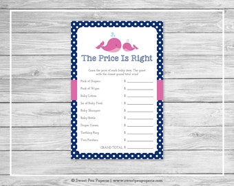 Whale Baby Shower Price Is Right Game - Printable Baby Shower Price Is Right Game - Pink Whale Baby Shower - Price Is Right Game - SP128