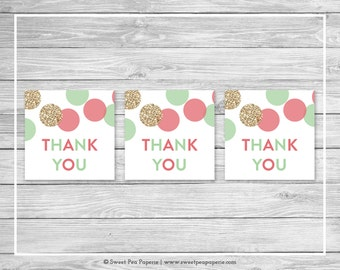Mint and Coral Gender Reveal Favor Thank You Tags - Printable Gender Reveal Thank You Tags - Coral Mint Gold Gender Reveal - SP132