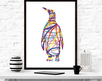 Abstract Penguin ,wall art, home decor ,minimalism, graphic design , ocean , abstract, Kids Room Decor, Nursery Decor,