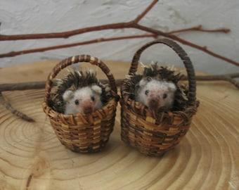 hedgehogs miniature needle felting.