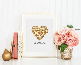 Heart Full of Love - Gold - 8x10 Digital Art Print