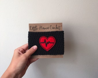 EKG Heart Nurse RN Crochet Coffee Cozy -- Gifts Under 10