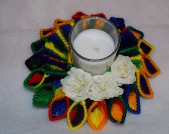 rainbow mix candle holder