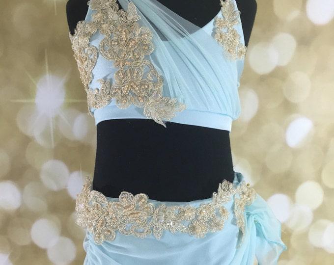 Lyrical dance costume,Lyrical girls Dance Costume, Lyrical Dance costume, solo Dance Costume, pale blue Lyrical dance costume