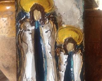 Original, Handmade, Textured Angel Painting, Angel Painting, Antiqued Painting, Rustic, halo, Mixed media art, Christmas gift,art