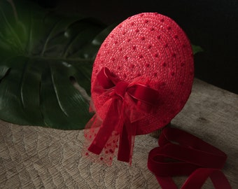 Fascinator Red Hat 1950