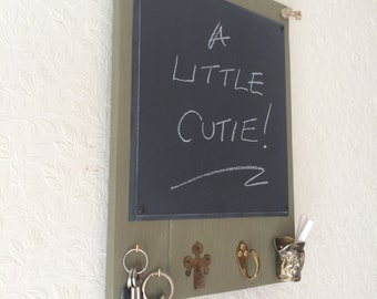 Kitchen Blackboard on Pallet Wood with Hooks and a Toby Jug Style Chalk Holder in Sage Green - Small