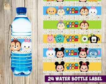 24 Tsum Tsum Water Bottle Label instant download, Printable Tsum Tsum Water Bottle Label, Tsum Tsum Water Label
