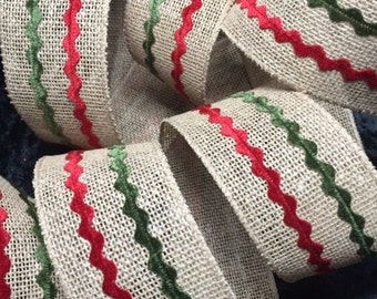 2 1/2in x21ft  Rustic Natural Jute Burlap Wired Ribbon with Red and Green details