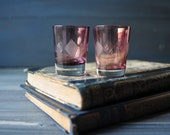 Purple Glass Shot Glasses, Two pcs Vintage Engraved Shot Glasses, Barware
