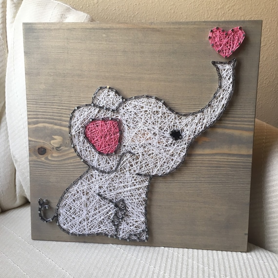 Custom Elephant String Art Sign Baby Elephant Love By