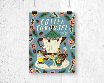 Fine-art poster - the Coffee Carousel - digital print