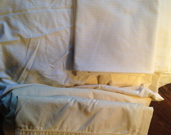 6 YELLOW TWIN Sheets, Pillowcases.  Martha Stewart, Spring.