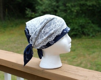 Bandana with wide lace