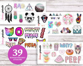 TUMBLR SET (4 SHEETS) Stickers Perfect for Erin Condren Life Planner, Filofax, Plum Paper & other planner or scrapbooking