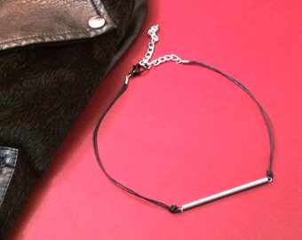 Repurposed hardware necklace, Leather Choker, Spring Necklace, Silver Jewelry, Black Necklace, Punk Necklace, Rocker Jewelry