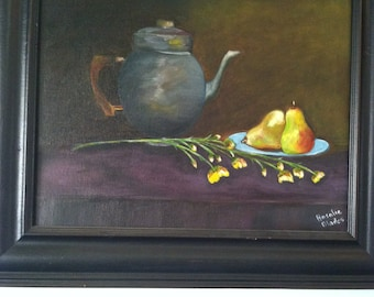 Golden Pears with Coffee- Print-free shipping