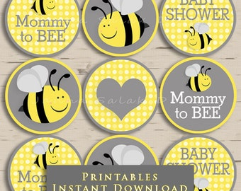 Mommy To Bee Baby Shower Cupcake Toppers Party Yellow And Grey DIY Printable INSTANT DOWNLOAD BEE001