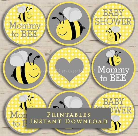 Mommy To Bee Baby Shower Cupcake Toppers Party Yellow And Grey DIY Printable INSTANT DOWNLOAD BEE001 From JannaSalakDesigns On Etsy Studio