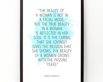 The beauty (...), Audrey Hepburn quote, Audrey Hepburn Watercolor Poster, Wall art quote, Motivational quote, Inspirational quote.