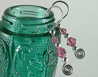 Rose Swarovski Crystal Earrings - 4th Chakra - October Color Ray