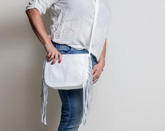 White Leather bag - Fringe Bag - Fringe leather bag - Fringe Handbags - Fringe Crossbody Bag - Leather shoulder bag - INGA MS7018