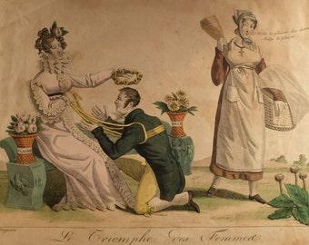 """Louis François Charon 1816 Engraving, Marriage Satire """"Le triomphe des femmes, caricature conjugale, dédiée à tous les epoux"""""""
