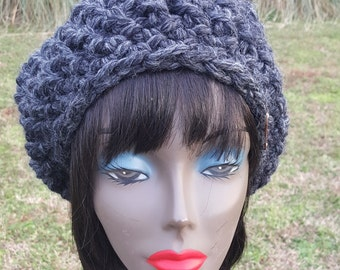 Crochet Beret Hat – Hand Crochet – Wool and Acrylic Blend