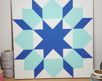 Painted Wood Quilt Block - Blue & Aqua