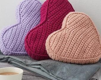 Heart Cushion, Heart Pillow, crochet pillows, knit cushions, knitted cushions, knit pillow, knitted pillow, heart shaped gift, valentines