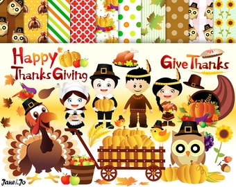 72 Thanksgiving Cliparts 35 Thanksgiving Digital Papers 25 Thanksgiving Backgrounds thanksgiving clip art leaves clipart Thanksgiving turkey
