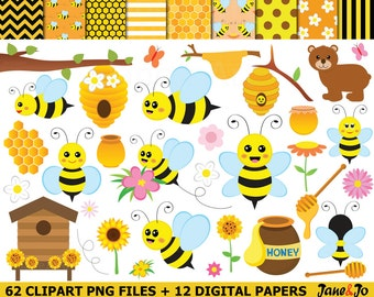62 Bee Clipart , bees Clipart, Honey bees clip art , Bee cliparts , honeycomb,bee hive clipart,honey clipart,bee digital paper,bee image