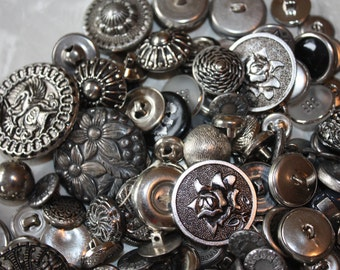 Vintage Silver Tone Button Assortment in Glass Jar