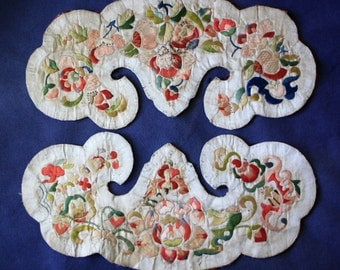 Matched pair of Antique Chinese silk embroidery pieces Qing Dynasty